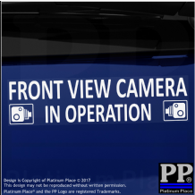 1 x Front View Camera In Operation Stickers-EXTERNAL CCTV Signs-Van,Taxi,Car,Cab
